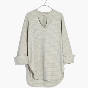 Madewell Striped Popover Cuff Tunic Blouse XS